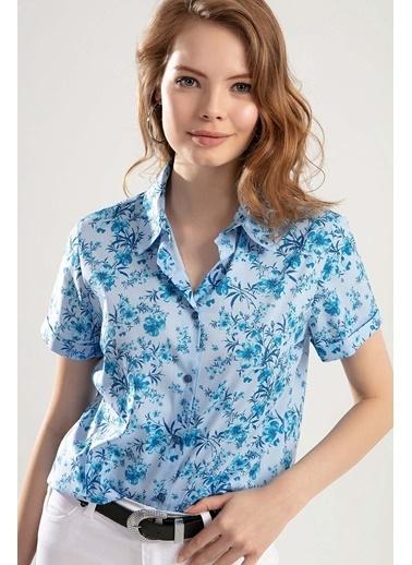 Pattaya Pattaya Kadın Duble Kol Çiçekli Gömlek PTTY20S-360 Mavi